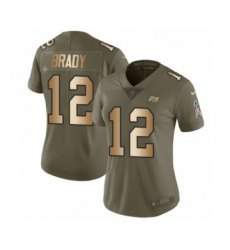 Women's Tampa Bay Buccaneers #12 Tom Brady Olive Gold Limited 2017 Salute To Service Jersey