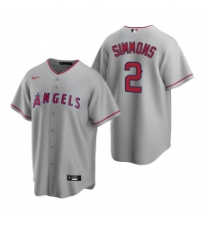 Men's Nike Los Angeles Angels #2 Andrelton Simmons Gray Road Stitched Baseball Jersey
