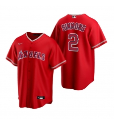 Men's Nike Los Angeles Angels #2 Andrelton Simmons Red Alternate Stitched Baseball Jersey