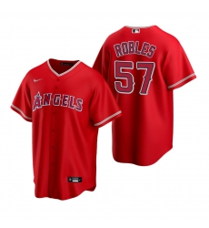 Men's Nike Los Angeles Angels #57 Hansel Robles Red Alternate Stitched Baseball Jersey