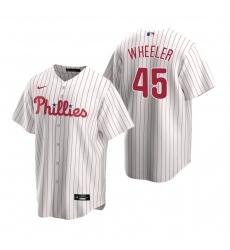 Men's Nike Philadelphia Phillies #45 Zack Wheeler White Home Stitched Baseball Jersey
