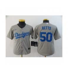 Youth Los Angeles Dodgers #50 Mookie Betts Royal Gray 2020 Cool Base Jersey