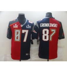 Men's Tampa Bay Buccaneers #87 Rob Gronkowski Blue Red Bowl LV Bowl LIII Limited Split Fashion Football Jersey