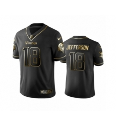 Vikings #18 Justin Jefferson Black Golden Edition Vapor Limited Jersey