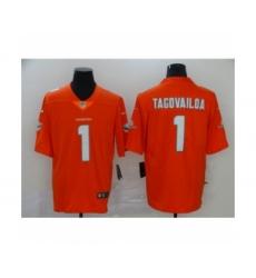 Men's Miami Dolphins #1 Tua Tagovailoa 2020 Limited Orange Rush Vapor Untouchable Football Jersey