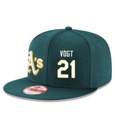 MLB Men's Oakland Athletics #21 Stephen Vogt Stitched New Era Snapback Adjustable Player Hat - Green/White