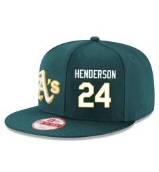 MLB Men's Oakland Athletics #24 Rickey Henderson Stitched New Era Snapback Adjustable Player Hat - Green/White