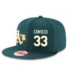 MLB Men's Oakland Athletics #33 Jose Canseco Stitched New Era Snapback Adjustable Player Hat - Green/White