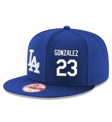 MLB Men's New Era Los Angeles Dodgers #23 Adrian Gonzalez Stitched Snapback Adjustable Player Hat - Royal Blue/White
