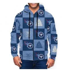 Titans Team Ugly Christmas Men's Zip Hooded Sweatshirt