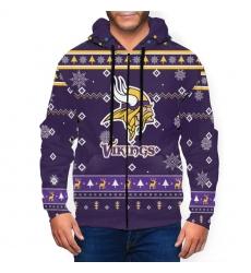 Vikings Team Christmas Ugly Men's Zip Hooded Sweatshirt
