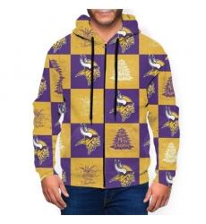Vikings Team Ugly Christmas Men's Zip Hooded Sweatshirt