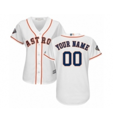 Women's Houston Astros Customized Authentic White Home Cool Base 2019 World Series Bound Baseball Jersey