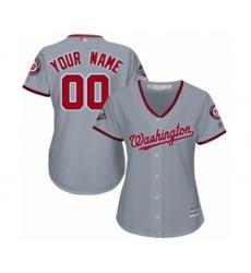 Women's Washington Nationals Customized Authentic Grey Road Cool Base 2019 World Series Champions Baseball Jersey