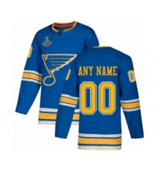 Youth St. Louis Blues Customized Authentic Navy Blue Alternate 2019 Stanley Cup Champions Hockey Jersey