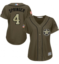 Women's Majestic Houston Astros #4 George Springer Authentic Green Salute to Service MLB Jersey
