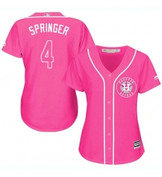 Women's Majestic Houston Astros #4 George Springer Replica Pink Fashion Cool Base MLB Jersey