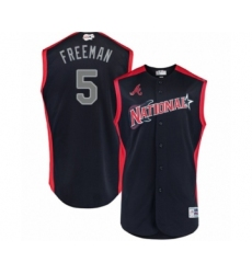 Men's Atlanta Braves #5 Freddie Freeman Authentic Navy Blue National League 2019 Baseball All-Star Jersey