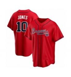 Men's Chipper Jones #10 Atlanta Braves Red Replica Alternate Jersey