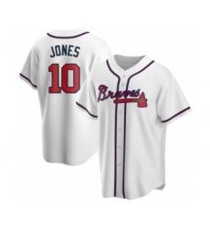 Men's Chipper Jones #10 Atlanta Braves White Replica Home Jersey