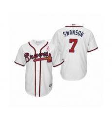 Men's Dansby Swanson Atlanta Braves #7 White 2019 Mothers Day Cool Base Jersey