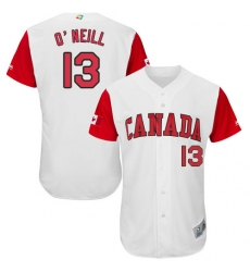 Men's Canada Baseball Majestic #13 Tyler O'Neill White 2017 World Baseball Classic Authentic Team Jersey