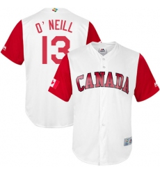 Men's Canada Baseball Majestic #13 Tyler O'Neill White 2017 World Baseball Classic Replica Team Jersey