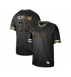 Men's Arizona Diamondbacks #38 Curt Schilling Authentic Black Gold Fashion Baseball Jersey