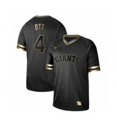Men's San Francisco Giants #4 Mel Ott Authentic Black Gold Fashion Baseball Jersey
