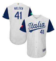 Men's Italy Baseball Majestic #41 Trey Nielsen White 2017 World Baseball Classic Authentic Team Jersey
