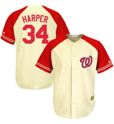 Men's Majestic Washington Nationals #34 Bryce Harper Authentic Cream/Red Exclusive MLB Jersey