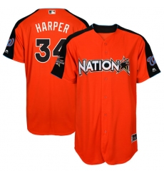 Men's Majestic Washington Nationals #34 Bryce Harper Authentic Orange National League 2017 MLB All-Star MLB Jersey