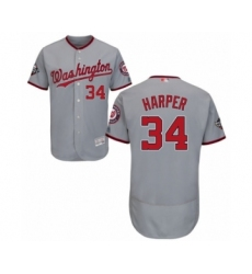 Men's Washington Nationals #34 Bryce Harper Grey Road Flex Base Authentic Collection 2019 World Series Bound Baseball Jersey