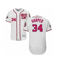 Men's Washington Nationals #34 Bryce Harper White Home Flex Base Authentic Collection 2019 World Series Bound Baseball Jersey