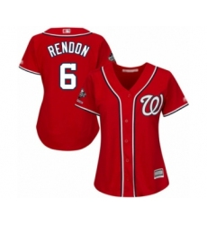 Women's Washington Nationals #6 Anthony Rendon Authentic Red Alternate 1 Cool Base 2019 World Series Champions Baseball Jersey