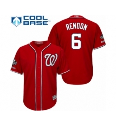 Youth Washington Nationals #6 Anthony Rendon Authentic Red Alternate 1 Cool Base 2019 World Series Champions Baseball Jersey