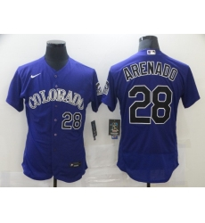 Men's Nike Colorado Rockies #28 Nolan Arenado Purple Alternate Stitched Jersey