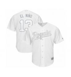 Men's Kansas City Royals #13 Salvador Perez  El Nino Authentic White 2019 Players Weekend Baseball Jersey