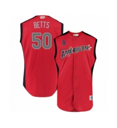Youth Boston Red Sox #50 Mookie Betts Authentic Red American League 2019 Baseball All-Star Jersey