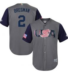 Youth USA Baseball Majestic #2 Alex Bregman Gray 2017 World Baseball Classic Replica Team Jersey