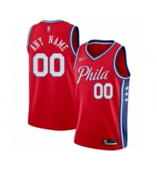 Youth Philadelphia 76ers Customized Swingman Red Finished Basketball Jersey - Statement Edition