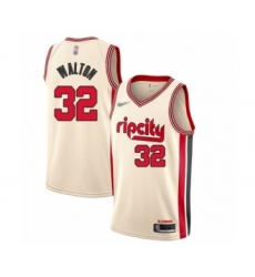 Men's Portland Trail Blazers #32 Bill Walton Swingman Cream Basketball Jersey - 2019 20 City Edition