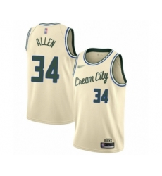 Men's Milwaukee Bucks #34 Ray Allen Swingman Cream Basketball Jersey - 2019 20 City Edition