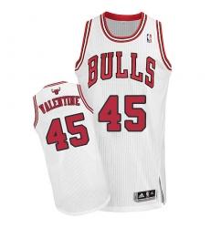 Men's Adidas Chicago Bulls #45 Denzel Valentine Authentic White Home NBA Jersey