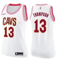 Women's Nike Cleveland Cavaliers #13 Tristan Thompson Swingman White/Pink Fashion NBA Jersey