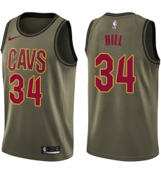 Youth Nike Cleveland Cavaliers #34 Tyrone Hill Swingman Green Salute to Service NBA Jersey