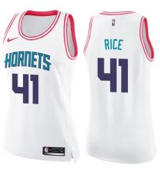 Women's Nike Charlotte Hornets #41 Glen Rice Swingman White/Pink Fashion NBA Jersey