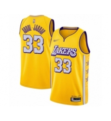 Men's Los Angeles Lakers #33 Kareem Abdul-Jabbar Swingman Gold 2019 20 City Edition Basketball Jersey