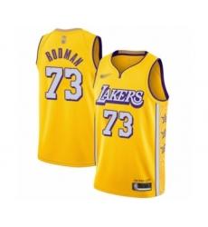Men's Los Angeles Lakers #73 Dennis Rodman Swingman Gold 2019-20 City Edition Basketball Jersey