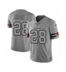 Men's Cincinnati Bengals #28 Joe Mixon Limited Gray Team Logo Gridiron Football Jersey